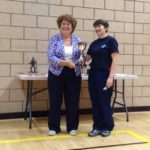 Gillian Worman receiving the Frank Mills Trophy on behalf of Kate O'Connell